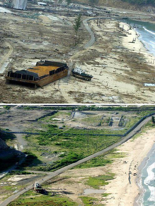Tak rok później wyglądały miejsca zniszczone przez tsunami
