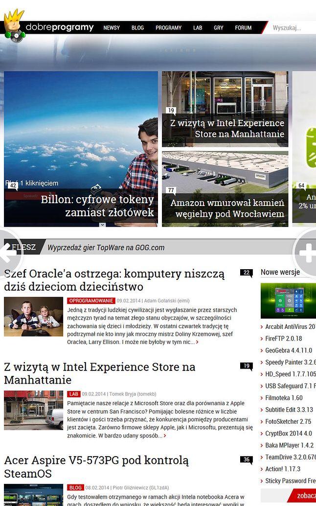 strona główna dp oglądana na tablecie w kafelkowym FF