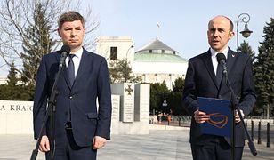 Wybory prezydenckie 2020. Jan Grabiec(PO) oraz Borys Budka (PO) na konferencji prasowej (zdj. arch.)