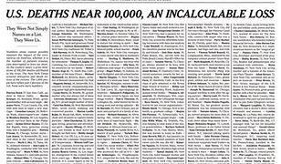 """""""The New York Times"""" oddał hołd ofiarom koronawirusa. Pierwsza strona zapełniona nazwiskami"""