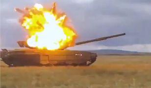 Aktywny pancerz T-72B3 w akcji. Z łatwością zatrzymuje pocisk z RPG-7