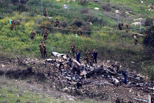 Szczątki izraelskiego F-16 zestrzelonego przez syryjską obronę przeciwlotniczą