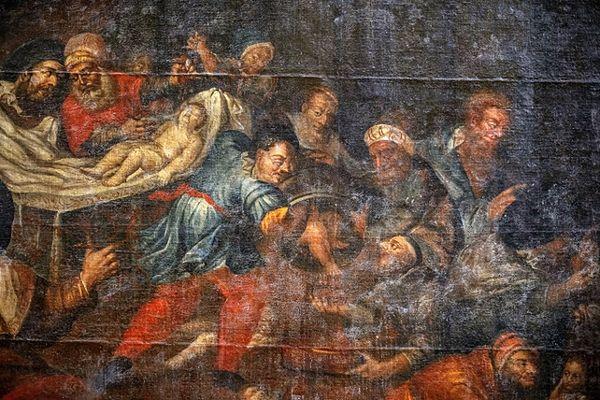 Znajdujący się w sandomierskiej katedrze obraz Karola de Prevot z XVIII wieku, przedstawiający rzekomy mord rytualny chrześcijańskiego dziecka dokonany przez Żydów