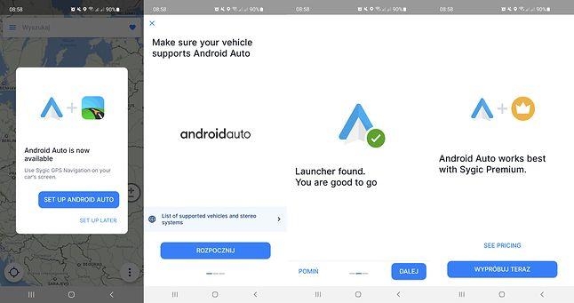 """Sygic sam proponuje wykorzystanie Android Auto. Wystarczy """"przeklikać"""" kreator, fot. Oskar Ziomek"""