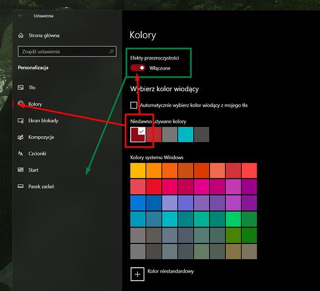 Efekty półprzezroczystości mają wpływ m.in. na boczny panel ustawień, kolor wiodący to m.in. akcenty w opcjach.
