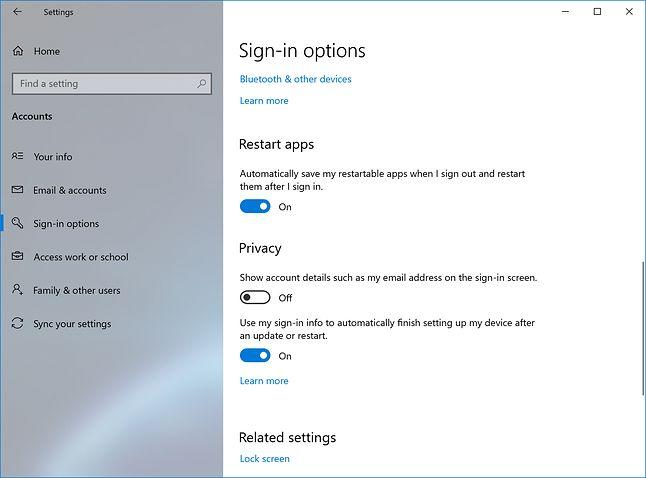 Nowe ustawienia restartowania aplikacji, źródło: Microsoft.