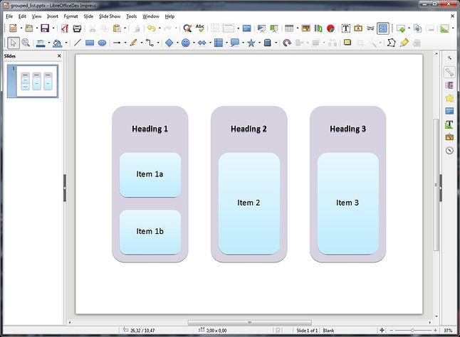 SmartArt z PowerPointa zaimportowane do Impressa