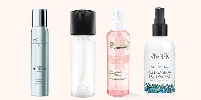Mgiełki do twarzy: Cellular Water  Institut Esthederm (ok. 88 zł / 100 ml), MAC Prep + Prime (99 zł / 100 ml), Yves Rocher Sensitive Vegetal (19,90 zł /150 ml), Vianek nawilżający tonik-mgiełka do twarzy (17,99 zł /100 ml)