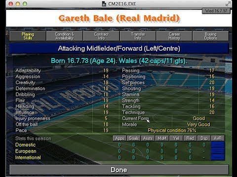 Championship Manager 97/98 - statystyki gracza
