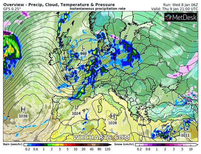 Pogoda. Strefa opadów w nocy obejmie niemal całą Polskę