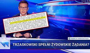 """Kadr z głównego wydania """"Wiadomości"""" TVP z dnia 9 lipca br."""
