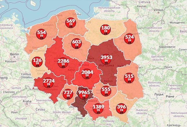 Koronawirus w Polsce. Mapa pokazuje duży wzrost zakażeń i kolejne ofiary śmiertelne