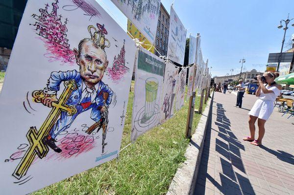 Wystawa karykatur prezydenta Putina w Kijowie