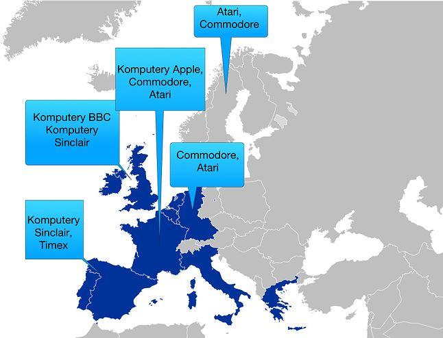 Mapa powstała na postawie moich wspomnień, jakie komputery się przywoziło z różnych krajów. Być może nie do końca odzwierciedla ona ówczesny podział rynków.