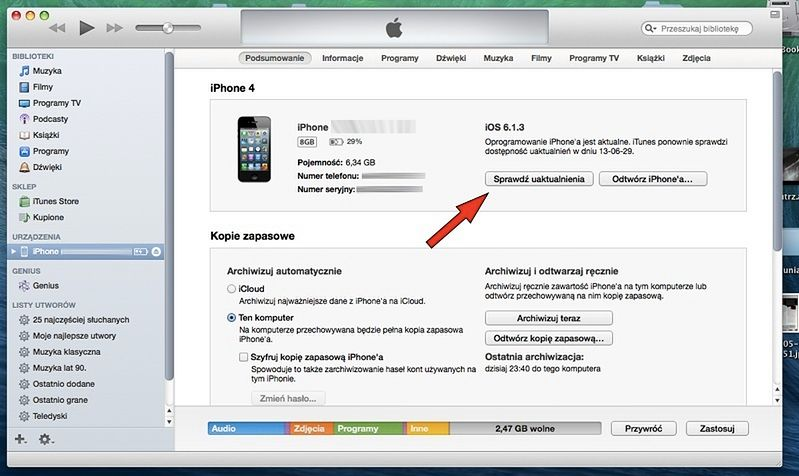 iOS 7 po godzinach - Godzina 1:00