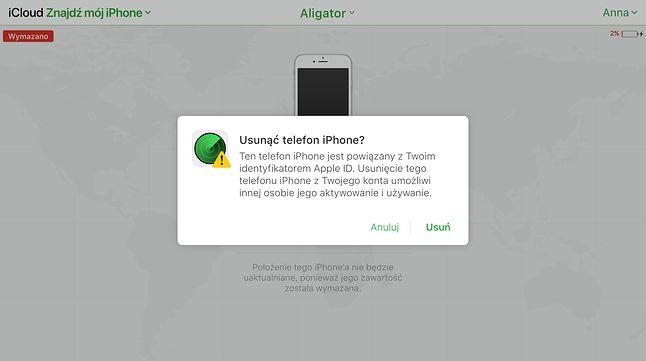 Potwierdzenie usunięcia iPhone'a z mojego konta iCloud