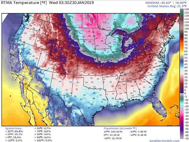 75 proc. Amerykanów musi szykować się na srogi mróz (weathermodels.com)