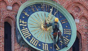 Alpinista na wieży gdańskiego ratusza