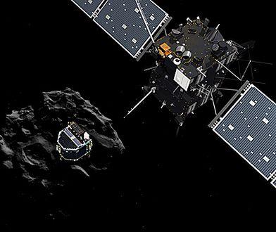 Ilustracja przedstawiająca moment odłączenia lądownika Philae od sondy Rosetta