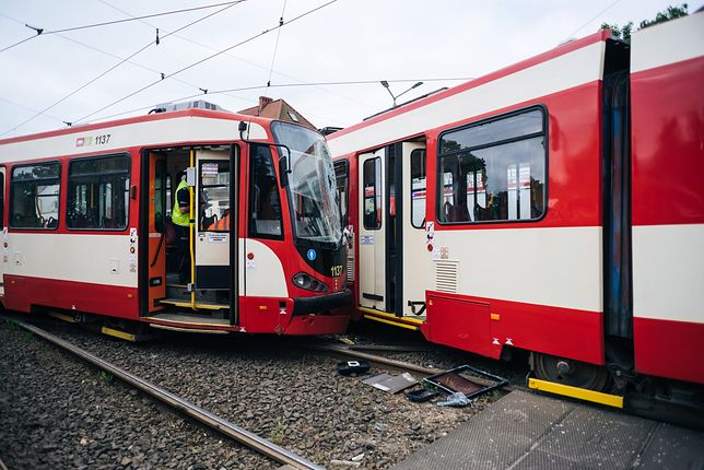 Zderzenie tramwajów w Gdańsku. 10 osób poszkodowanych