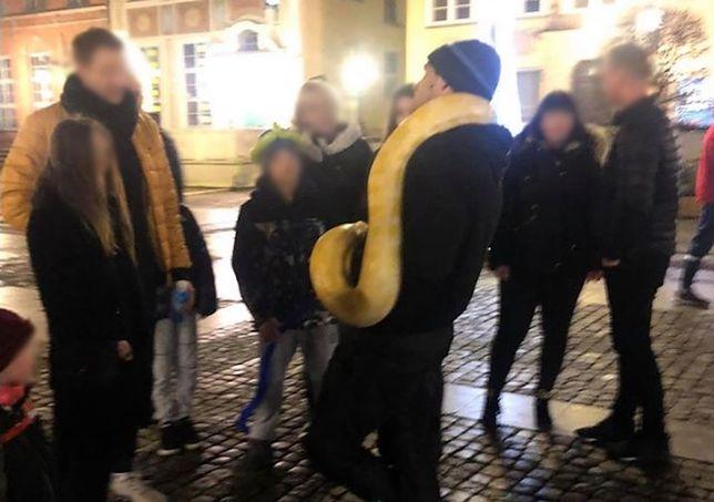Mężczyzna często spaceruje z wężami po ul. Długiej w Gdańsku