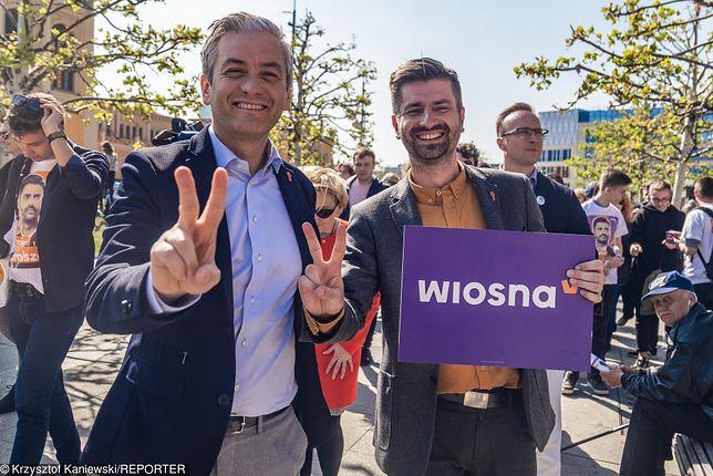 Robert Biedroń i Krzysztof Śmiszek na wiecu Wiosny.