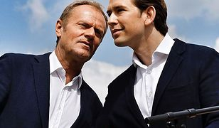 Szef Rady Europejskiej Donald Tusk i kanclerz Austrii Sebastian Kurz