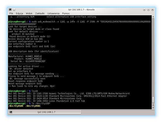 Rezultat polecenia usb_modeswitch - nasze urządzenie pracuje teraz w trybie modemu