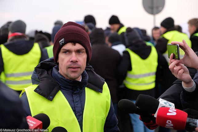 Michał Kołodziejczak to jeden z liderów protestu, który w środę zablokował autostradę A2