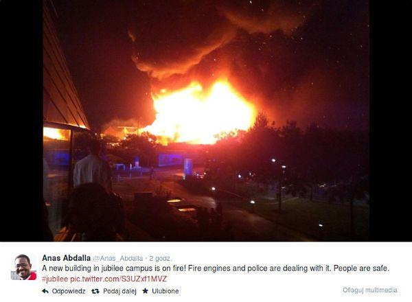 Płonie budynek na kampusie uniwersytetu w Nottingham