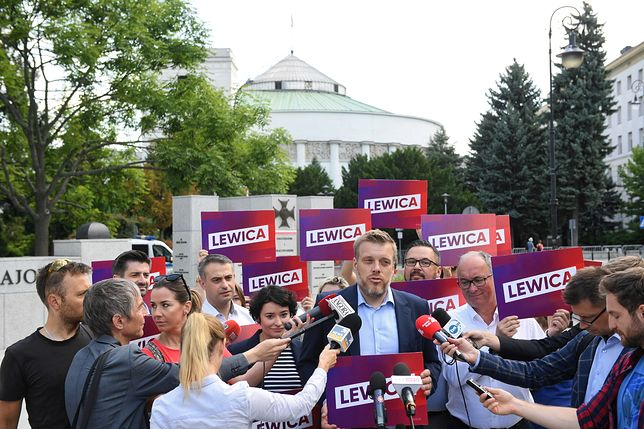 Wybory parlamentarne 2019. Konferencja lewicy przed Sejmem, 15 sierpnia br.