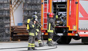 Strażacy przeszukują zawalony budynek, w poszukiwaniu innych osób