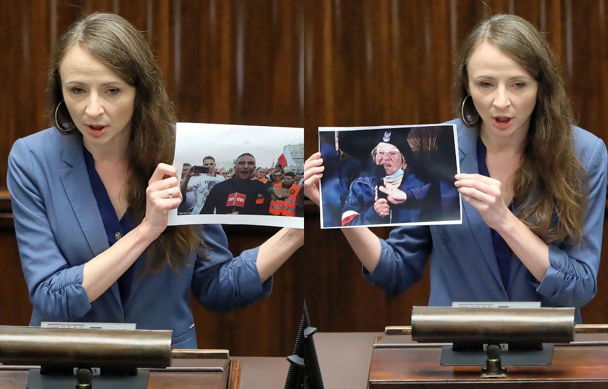 """""""Twarz nienawiści i twarz patriotyzmu"""". Posłanka pokazała w Sejmie dwa zdjęcia (PAP)"""