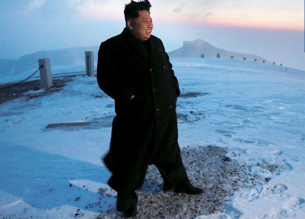 Kim Dzong Un na szczycie góry Paektu