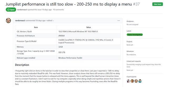 Microsoft bada problem ociężałego paska zadań w Windows 10, co widać po statusie zgłoszenia problemu na GitHubie, fot. Oskar Ziomek.