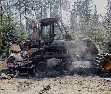 Szklarska Poręba. Ekoterroryści spalili maszynę do wyrębu lasu.
