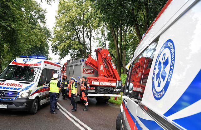 Lubin. Samochód ciężarowy uderzył w drzewo na DK3