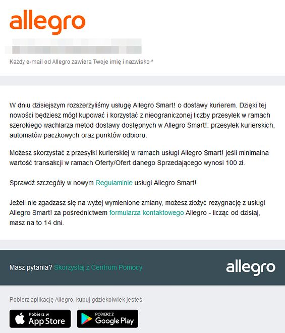 Allegro rozsyła informacje o nowościach w Smart do subskrybentów usługi