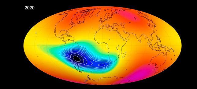 Pole magnetyczne Ziemi słabnie na obszarze między Ameryką Południową a Afryką