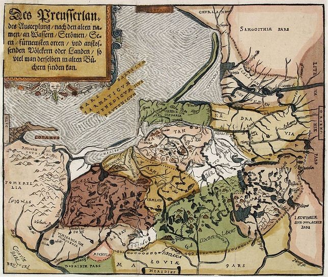 Mapa ziem pruskich Caspara Hennebergera z 1584 r. z zaznaczonym terytorium plemiennym Galindów