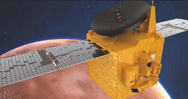 Wizualizacja sondy Hope nad Marsem