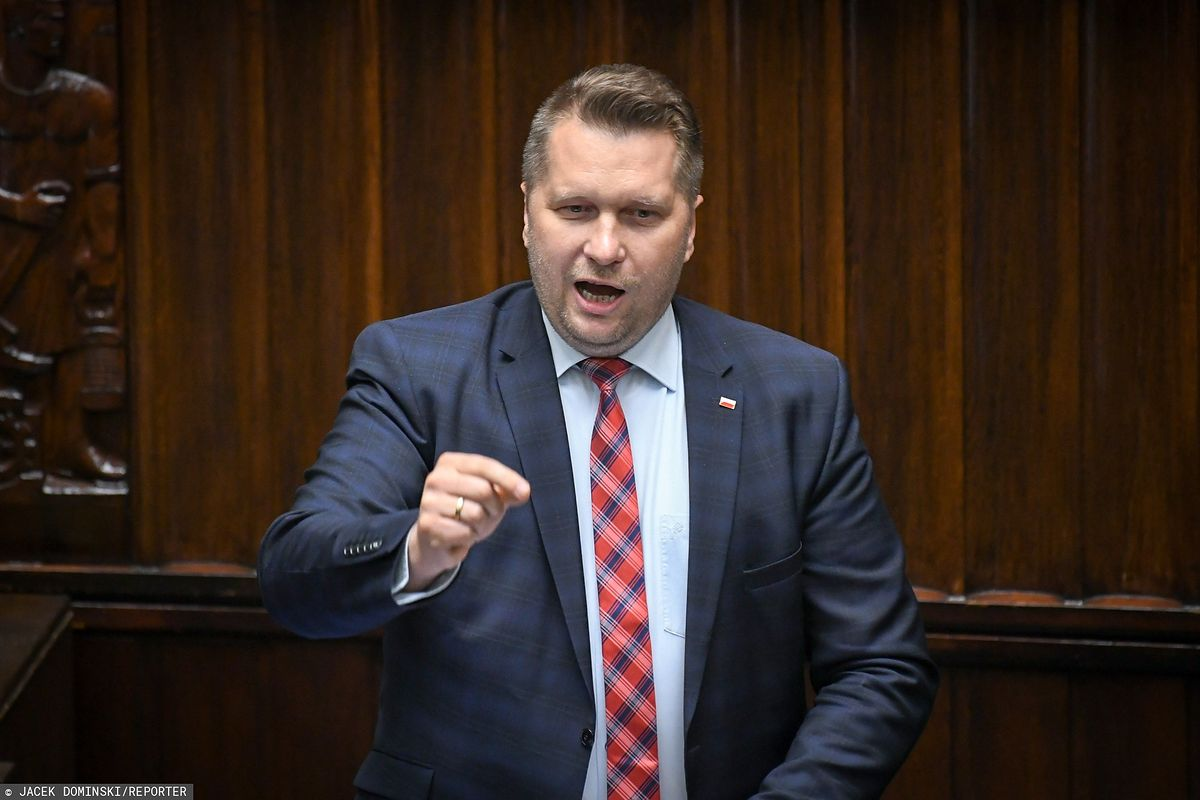 Minister Przemysław Czarnek podczas przemówienia w Sejmie