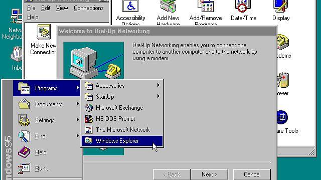 Windows 95 miał zapewnić wygodny dostęp do Internetu