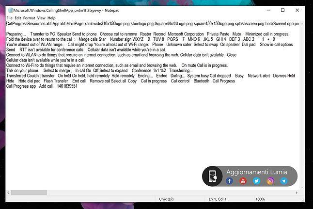 Ciągi znaków związane z aplikacją Windows.CallingShellApp, źródło: Aggiornamenti Lumia.