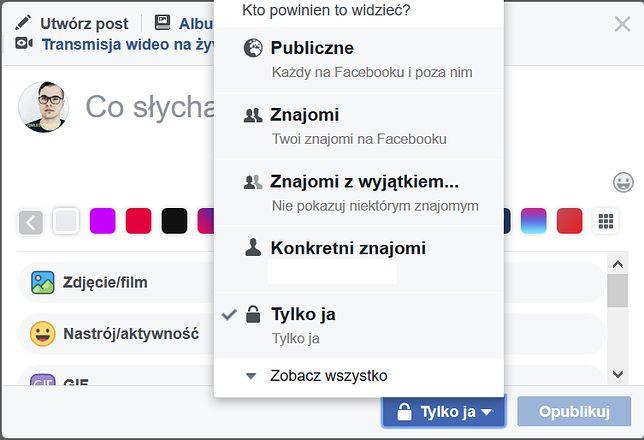 Ustawienia prywatności posta na Facebooku można łatwo sprawdzić.