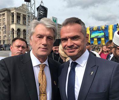 """Były prezydent Ukrainy Wiktor Juszczenko i Sławomir Nowak, szef """"Ukrawtodoru""""."""