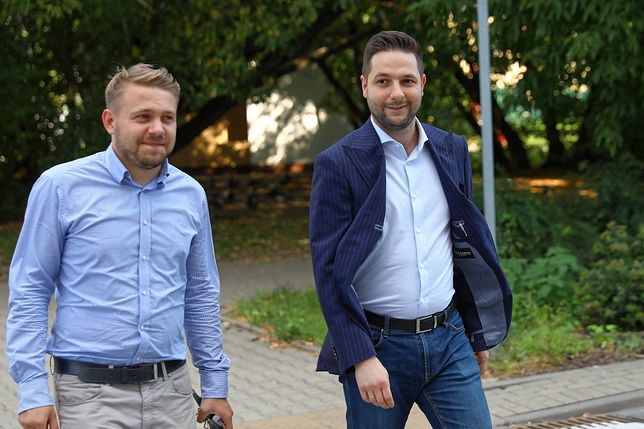 Poseł Jacek Ozdoba i europoseł Patryk Jaki z Solidarnej Polski