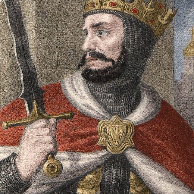 Bolesław Chrobry od samego początku rządów wykazywał się bezwzględnością i okrucieństwem. XIX-wieczna podobizna władcy, koloryzacja: Rafał Kuzak.