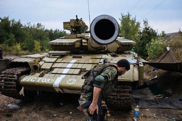 Ukraiński czołg w okolicach Doniecka