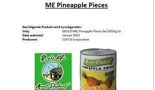 GIS. Producent ostrzega konsumentów przed spożywaniem ananasów marki Mount Elephant